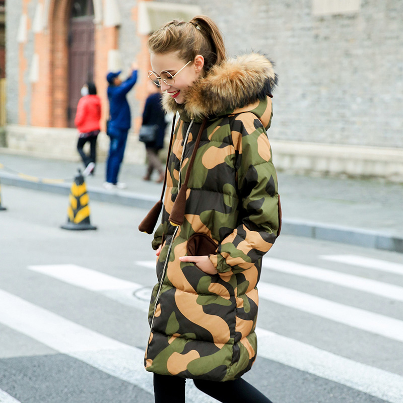 Winter British style good quality Camouflage real duck   down     coat   female real fur collar hooded long thicker warm   down     coat   wq717
