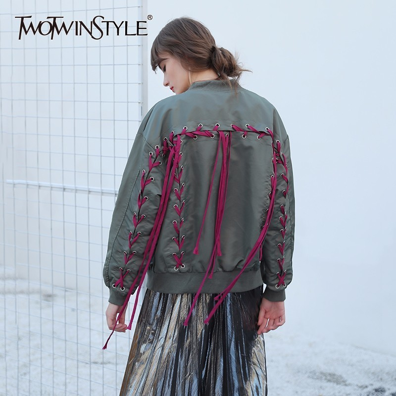 TWOTWINSTYLE Autumn Bomber Coat Female Jacket Cross Lace Up Long Sleeve Cardigan Tops Women's Windbreaker Casual Big Sizes 1