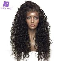 Луффи вьющиеся глубокая расставание 13x6 Синтетические волосы на кружеве Человеческие волосы Искусственные парики с ребенком волос для черн...