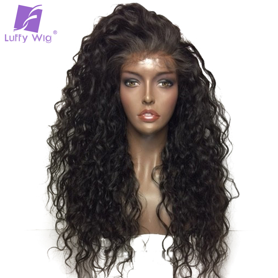 Luffy Curly Deep Parting 13x6 Lace Front Human Hair Wigs With Baby Hair Malaysian Non Remy Hair Natural Color With 130% Density