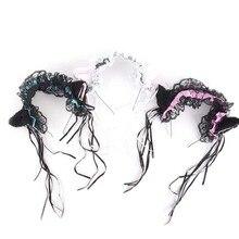 Аниме косплей девушки-кошки горничной кружевные повязки принцесса Сладкая Лолита повязки для волос колокольчик кошачьи уши обруч для волос аксессуары для волос