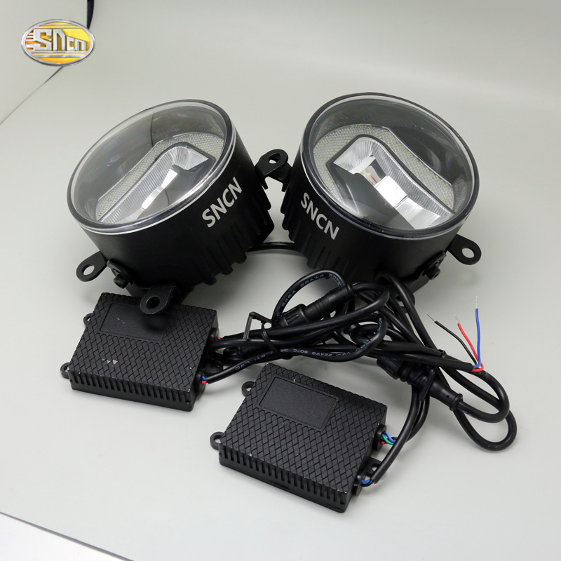 SNCN LED Fog lamp for Ford Foucs 2 3 2006-2015 with daytime running lights DRL Stainless steel base glass lamp shade sncn 24w 14w led multifunctional led fog lamp for honda city 2014 2015 2016 with drl daytime running lights
