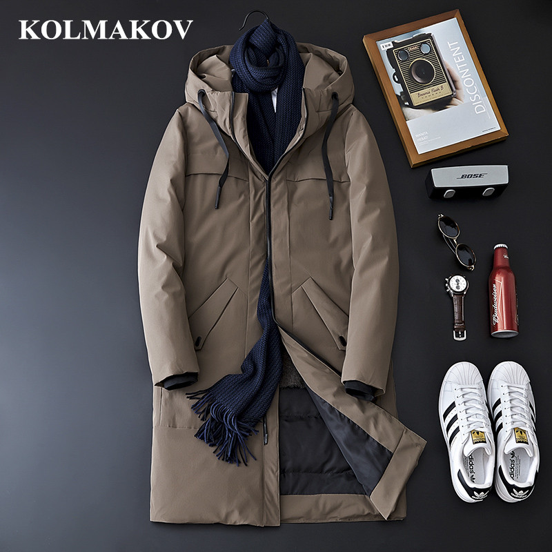 KOLMAKOV 2018 Men's Clothing New Winter Hooded   Down   Jackets Top Quality Winter   Coats   Men M-3XL Black/Khaki Casual Thick Jackets