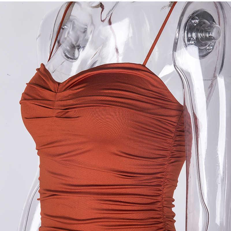 NewAsia 2 слоя летнее платье женское Плиссированное длинное платье пикантные тонкие бретельки Ruched Вечерние платья коричневые vestidos robe Femme 2019