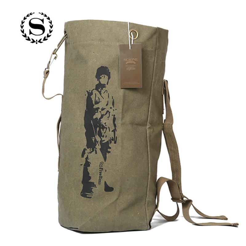 Drawstring Travel Backpack Military Multifunctional Canvas For Men Women Shoulder Bags Rucksack Mochila de viaje con cordon