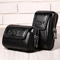 New Genuine Leather Cowhide Men Waist Bag Cell/Mobile Phone Case Purse Hip Belt Double Zippers Bags Brand Famous Male Fanny Pack