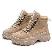 купить Genuine Leather Women's Winter Boots Plush Warm Women Platform Sneakers 2019 Fashion Combat Boots Woman Martin Shoes Yasilaiya дешево