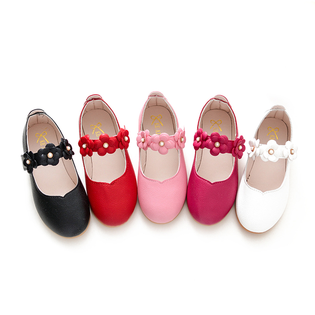 Girls flowers princess shoes 2019 spring and autumn children simple pink  shoes white pearl casual kids party dress shoes girls de24b6777849