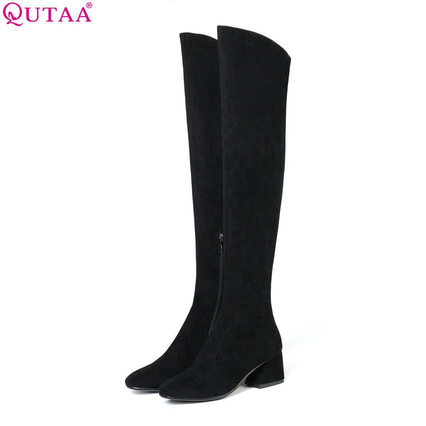 QUTAA 2019 New Arrive Fashion Women Over The Knee High Boots All Match Square Toe Winter Shoes Women Motorcycle Boots Size 34-43QUTAA 2019 New Arrive Fashion Women Over The Knee High Boots All Match Square Toe Winter Shoes Women Motorcycle Boots Size 34-43