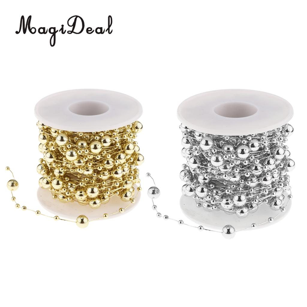 10m Metallic Beads String Pearls Wire Chain Wedding Christmas Party DIY Material