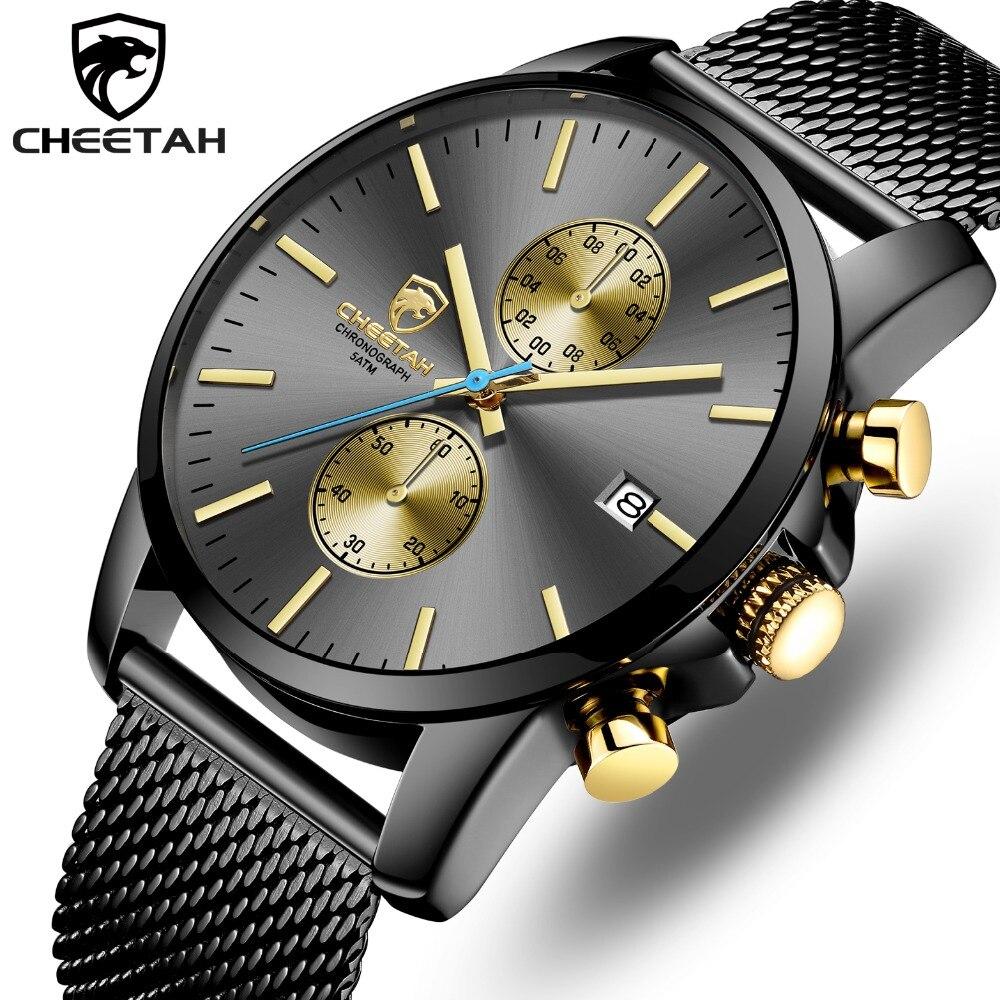 CHEETAH Men Watch Top Luxury Brand Mens Fashion Quartz Watches Stainless Steel Waterproof Chronograph Clock Relogio Masculino