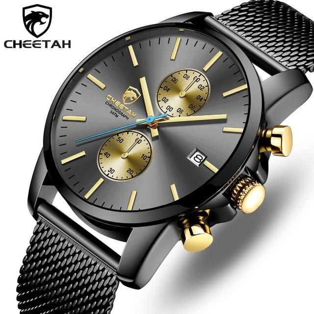 CHEETAH นาฬิกาผู้ชาย Top Luxury ยี่ห้อ Mens แฟชั่นนาฬิกาควอตซ์นาฬิกาสแตนเลสกันน้ำ Chronograph นาฬิกา Relogio Masculino
