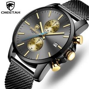 Image 1 - CHEETAH mężczyźni oglądać najlepsze luksusowe marki męskie mody zegarki kwarcowe ze stali nierdzewnej wodoodporny chronograf zegar Relogio Masculino