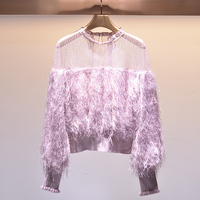2019 New Lace Blouse Stitching Feather Sweet Lovely Lolita Kawaii Harajuku Women Blouse Top Round Neck Solid Color Long Sleeved