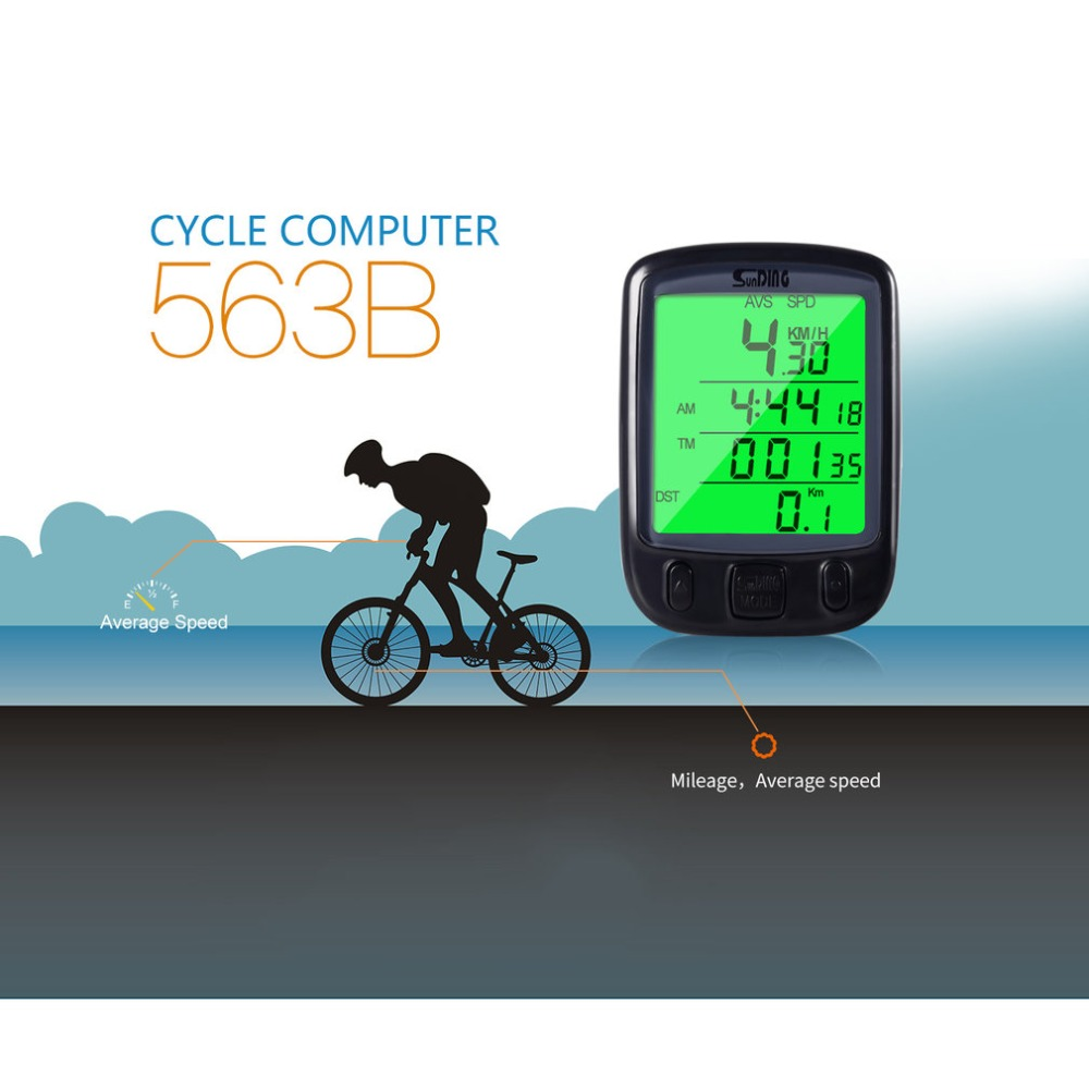 Digital Counter SD 563B Timer Switch Waterproof LCD Display Cycling Bicycle Computer Odometer Speedometer with Green Backlight image