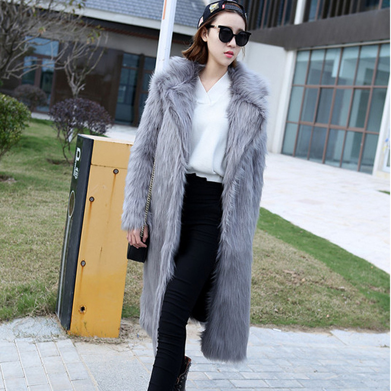 S-6XL New Fashion New environmental protection artificial Fox fur long Coat Thick fur Trench Coat Women Faux Fur Winter Clothes