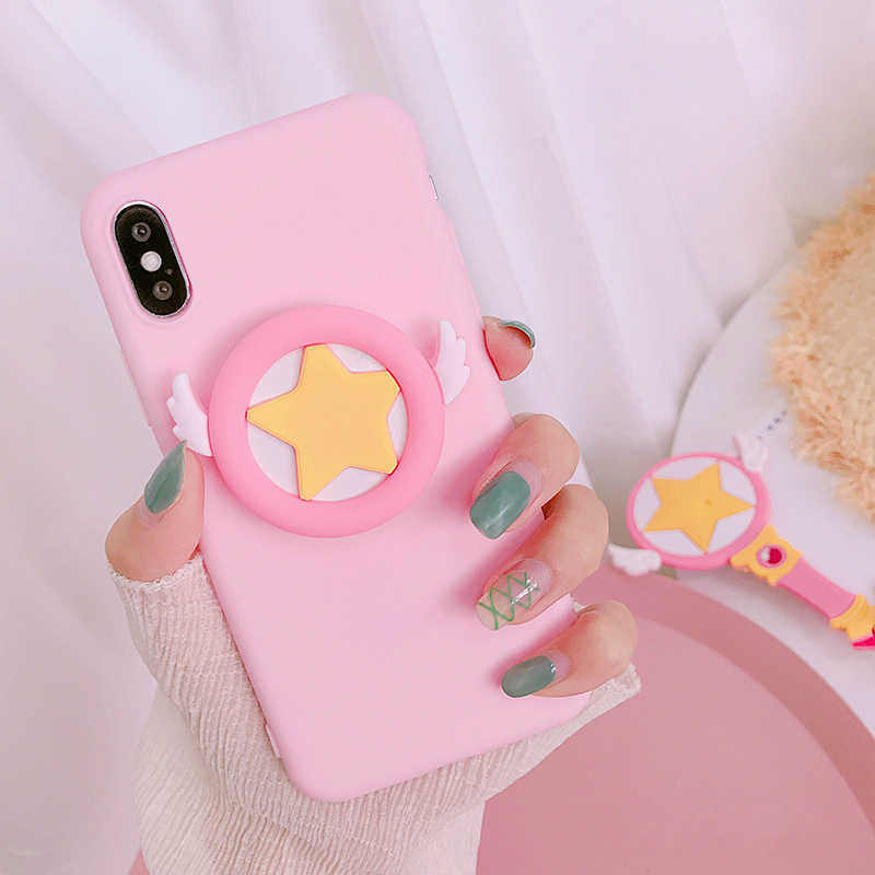 Japan Kawaii pink girl Phone Case Finger Holder for Coque iphone X 8 7 6 Plus Cute Candy colors soft Cover For iphone XS XR Capa