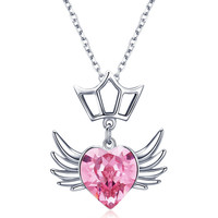 7f4120d1263d WOSTU Pendant Necklace 925 Sterling Silver Pink Glass Heart Shape With  Wings Chain Link Necklace For. WOSTU colgante de collar plata ...