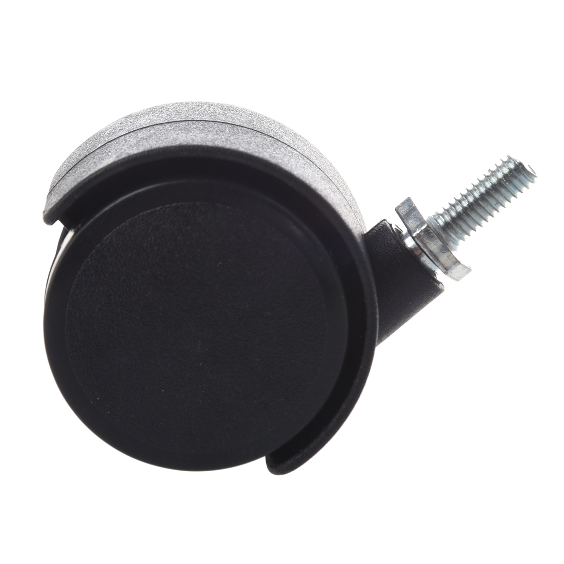 Rodízio giratório da roda dupla da haste 40mm rosqueada de 6mm preto-1