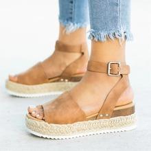 Damskie sandały Plus rozmiar kliny buty damskie buty na wysokim obcasie sandały letnie buty 2019 Flip Flop Chaussures Femme sandały na platformie tanie tanio Dla dorosłych Stałe Platforma Moda Masz Pasuje prawda na wymiar weź swój normalny rozmiar Med (3 cm-5 cm) Na co dzień