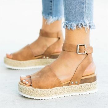 Sandały damskie Plus rozmiar kliny buty damskie buty na wysokim obcasie sandały letnie buty 2020 klapki Chaussures Femme sandały na platformie tanie i dobre opinie HAJINK CN (pochodzenie) Podstawowe Otwarta RUBBER Med (3 cm-5 cm) Na co dzień Pasek klamra Pasuje prawda na wymiar weź swój normalny rozmiar
