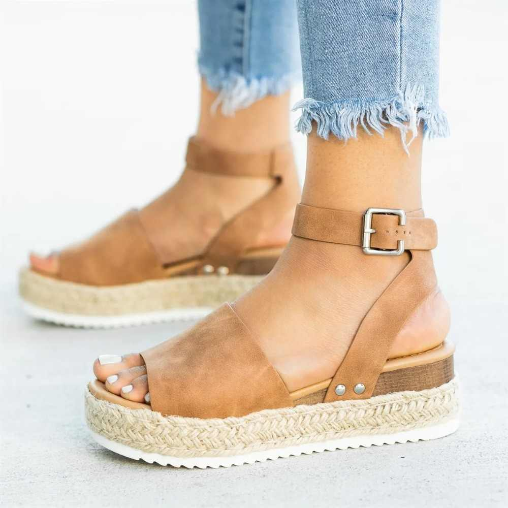 Sandalias de plataforma de mujer talla grande cuñas zapatos Sandalias de tacón alto zapatos de verano 2019 chanclas Chaussures