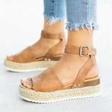 d5c090a3b النساء الصنادل زائد حجم أسافين أحذية للنساء صندل كعب عالٍ الصيف الأحذية  2019 الوجه بالتخبط Chaussures