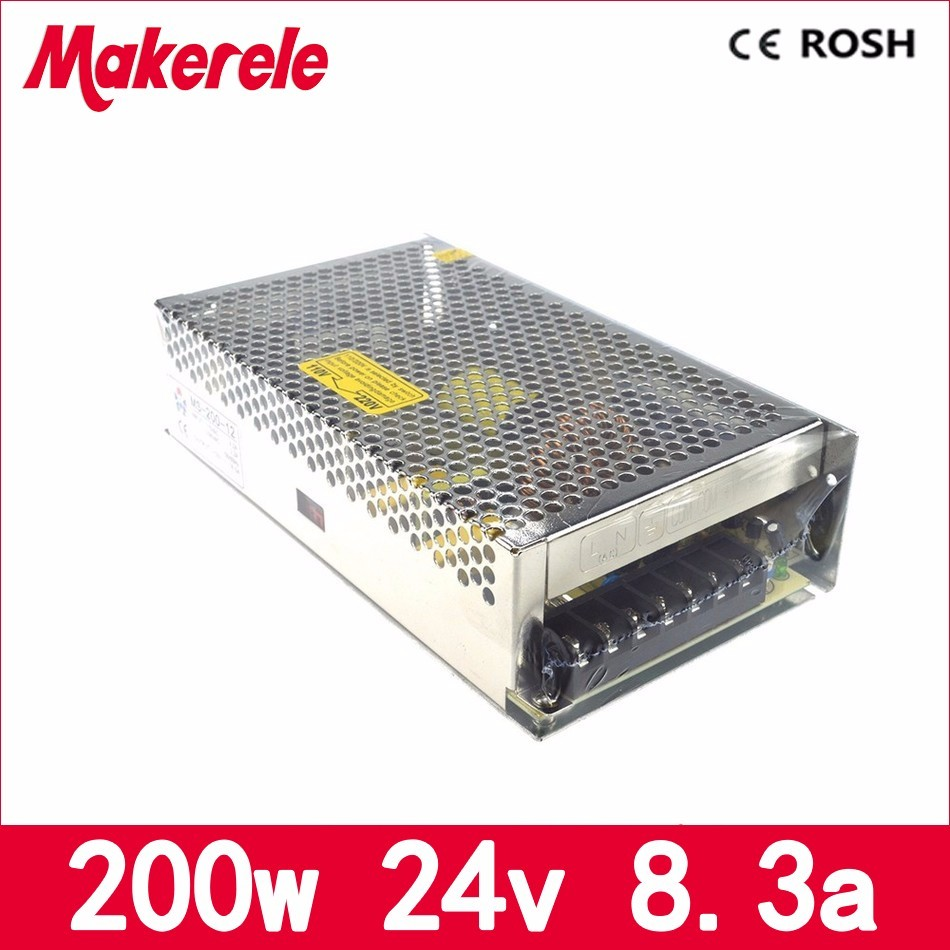 MS-200-24 new product single output 110V 220V AC to dc24V 8.3A 200w switching power supply smps with CE certification single output dc 24v 25a 600w switching power supply for led light strip 110v 240v ac to dc24v smps with cnc electrical equipmen