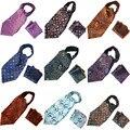 Los hombres de Lujo Floral Paisley Corbata Ascot Corbata A Juego del Pañuelo de Bolsillo Cuadrado Conjunto BWTYX0135