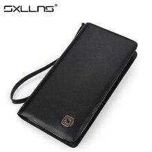 Sxllns Top Cowhide Men Wallets Brand Mens Wallet Leather Genuine Large Capacity Men's Clutch Bags Purses And Handbags Man Bag