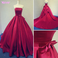 2018 Burgundy Ball Gown Prom Dresses Long Evening Gown Strapless Satin Lace up Vestido de Baile