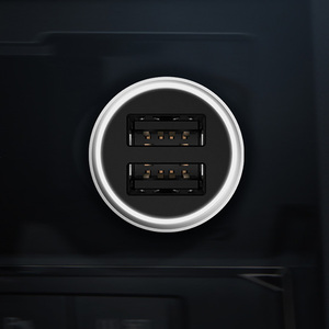 Image 4 - Original Xiaomi Auto Ladegerät 18W Max QC3.0 Volle Metall Messing Gehäuse Ring Licht Dual USB Smart Port Schnell Ladung 9V = 2A 5V = 2.4A