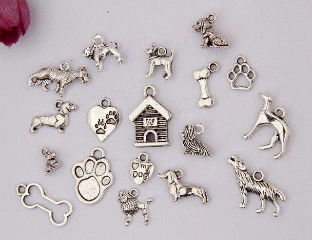 Neue Heiße 100 Stück Antikem Silber Mehrere Hund Handabdruck Wolf