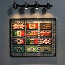 DL-USA RU Francia ITYLY Canadá Brasil Vintage pintura estaño cartel de Metal placa de matrícula apto para BAR PUB decoración del hogar
