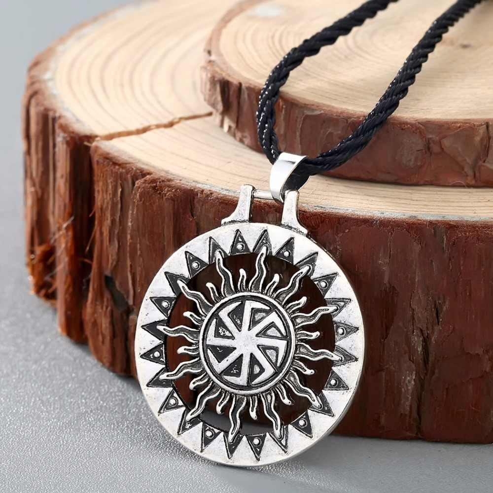 hight resolution of chengxun men viking pendant necklace kolovrat sun symbol slavic wheel nordic amulet handmade pagan solar celtic