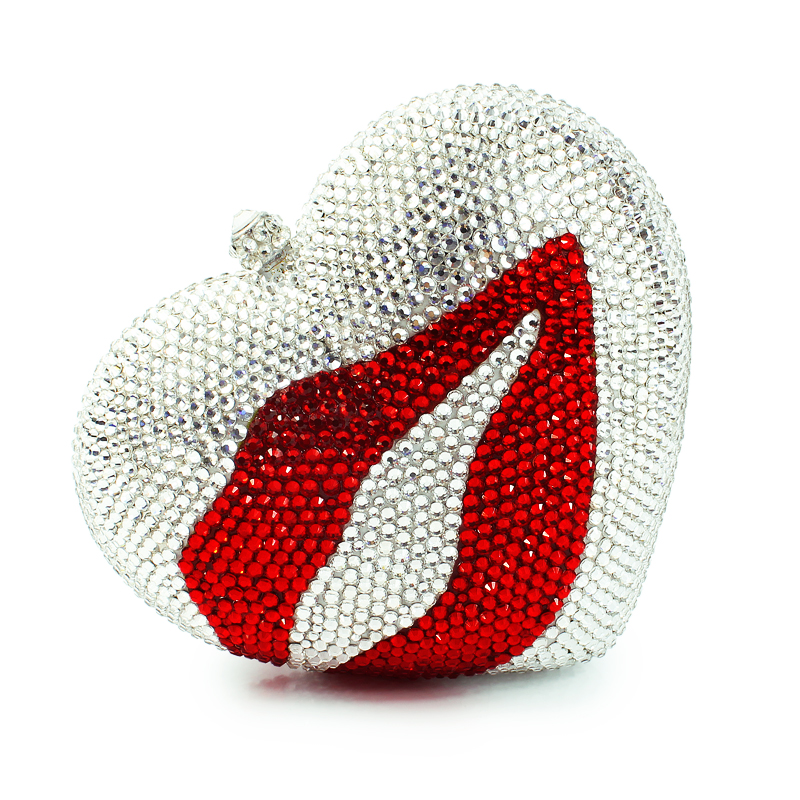 heart shape with red lip pattern clutch bags crystal clutch evening bags abstract heart shape tree birds color drawing pattern linen pillowcase