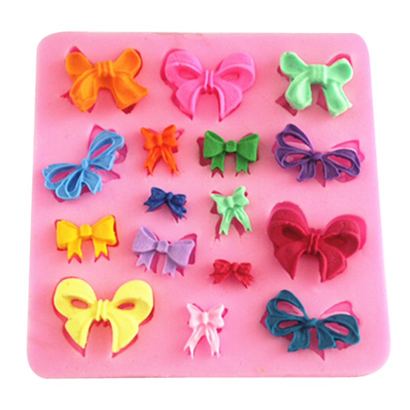 Beautiful bowknot shape fondant silicone mold kitchen baking chocolate pastry candy Clay making cupcake lace decoration FT-0095