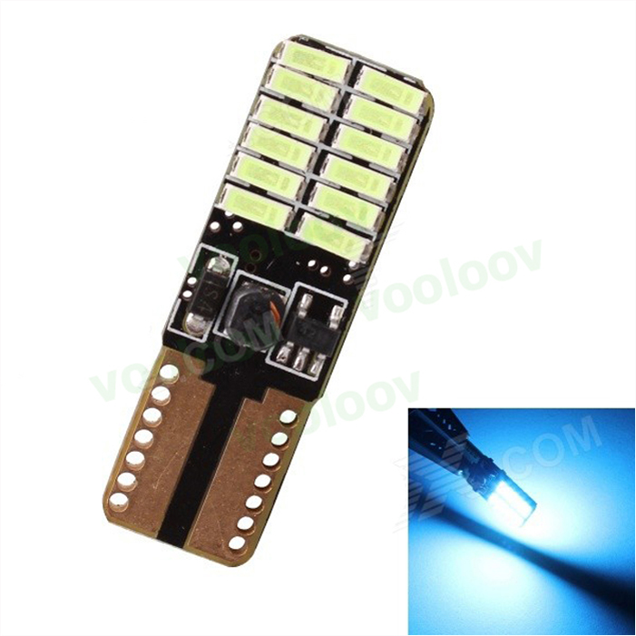 T10 LED Bulbs CAN-bus Error Free Super Bright Red 24-SMD 4014 W5W For Side Door/Foot Area Courtesy Lights 100pcs