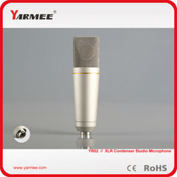 Music club wired gold fashion design cardioid electret condenser recording microphone party/studio/stage performance microphone