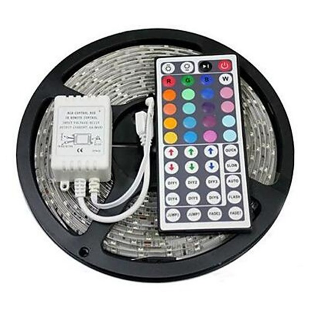 LED Stip ชุด RGB LED Strip DC12V 5 M กันน้ำยืดหยุ่นเชือก 5050 60LED/m, 44Key รีโมทคอนโทรล