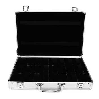 24 Grid Slots Aluminium Watch Box Display Case Jewelry Collection Casket Storage Organizer Wristwatch Suede Inside Box Holder