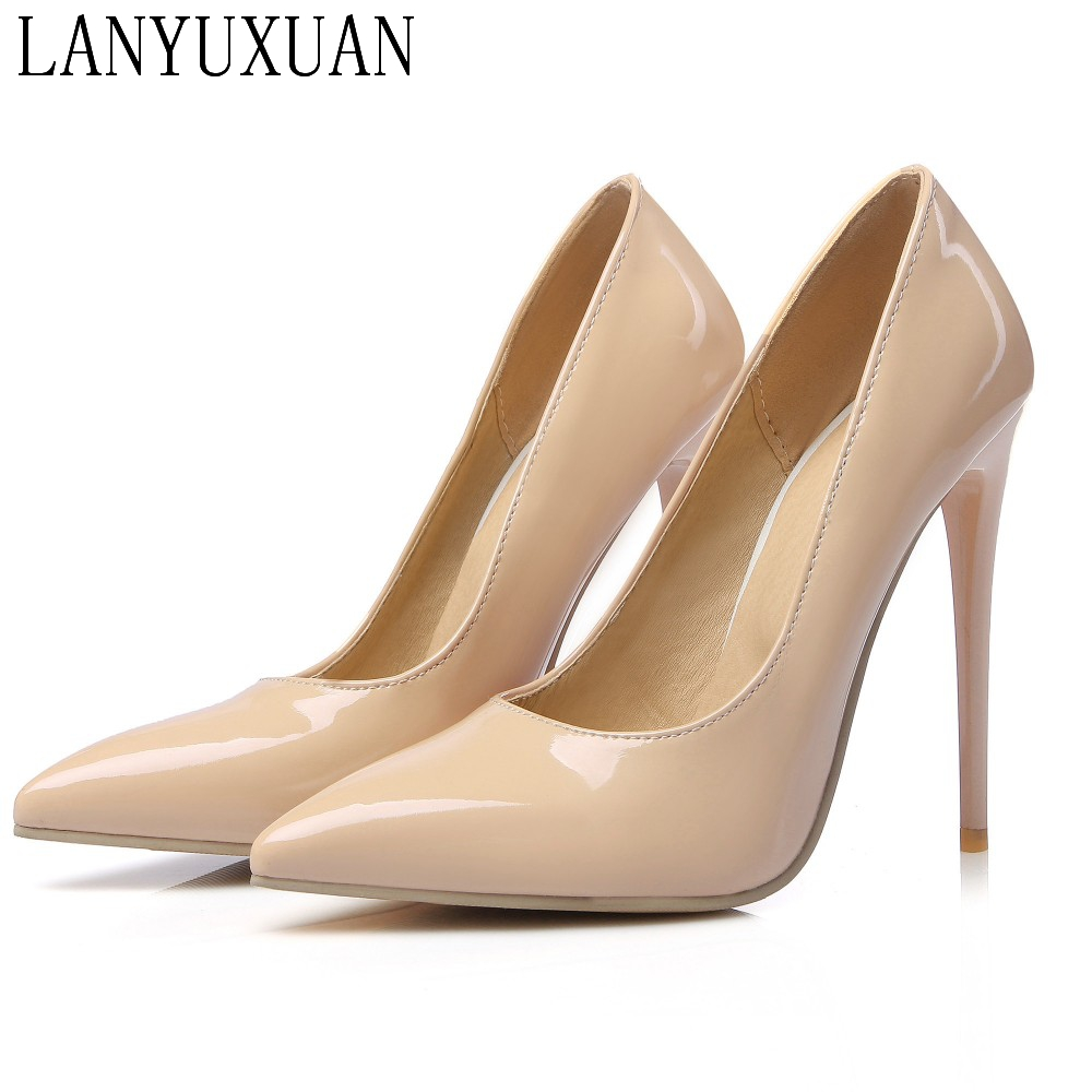 BLXQPYT Big Size Sale 34-47 Apricot Fashion Sexy Pointed Toe Women Pumps Platform High Heels Ladies Wedding Party Shoes 8-10 big size 40 41 42 women pumps 11 cm thin heels fashion beautiful pointy toe spell color sexy shoes discount sale free shipping