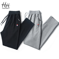 HanHent Cotton Casual Mens Track Pants Long Solid Color Sweatpants Men Fashion Thin Trousers Fitness School Pants Work Out Casual Pants