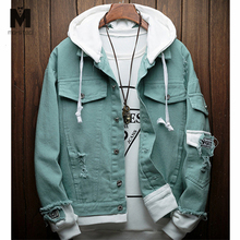 Men women 2019 New spring Fake two pieces Stitching Pink Ripped Hooded Denim jeans Jacket