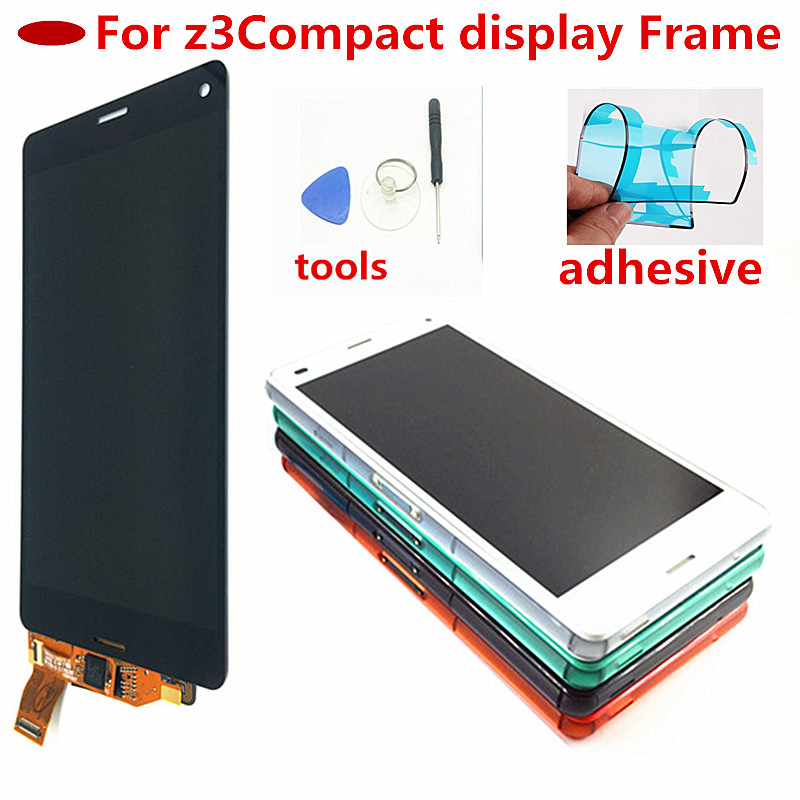 4.6 Inch Screen For Sony Xperia Z3 Compact LCD Touch Display D5803 D5833 Digitizer + Frame For Sony Z3 Mini Screen Replacement