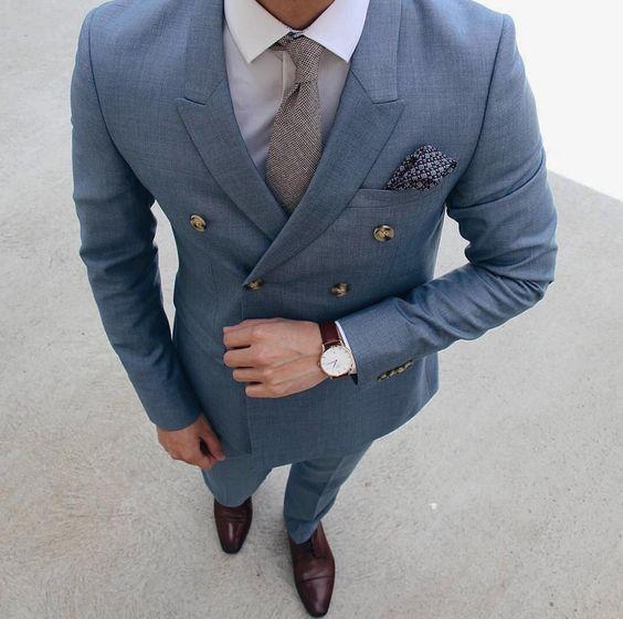 d4aa67a52bb 2017 последние конструкции пальто брюки Синий Серый Жених Костюмы  двубортный мужской костюм смокинг slim fit пользовательские 2 шт.
