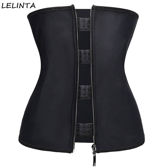 Women's Workout Latex Waist Trainer Corset Body Shapewear Zipper And Hook  Girdle Waist Slimming Trainer Cincher
