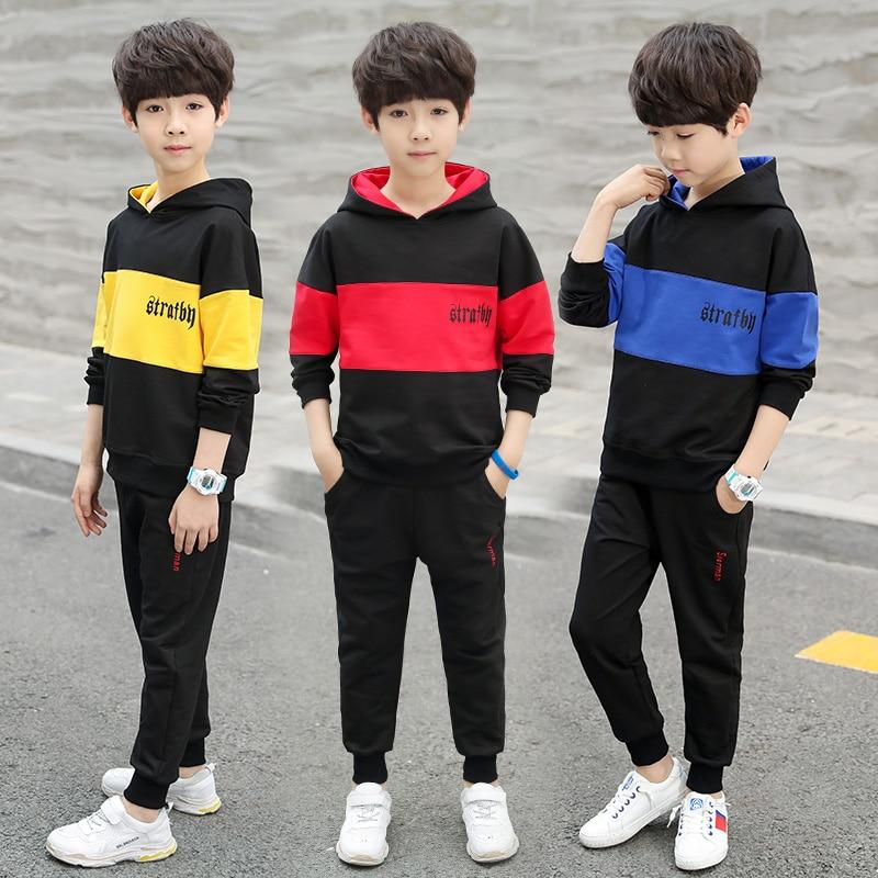 Spring&Autumn Cotton School Uniform Sport Suit Boys Clothing Sets 4 6 8 10 12 14 year Boy Hooded Tracksuit Clothes set Kids