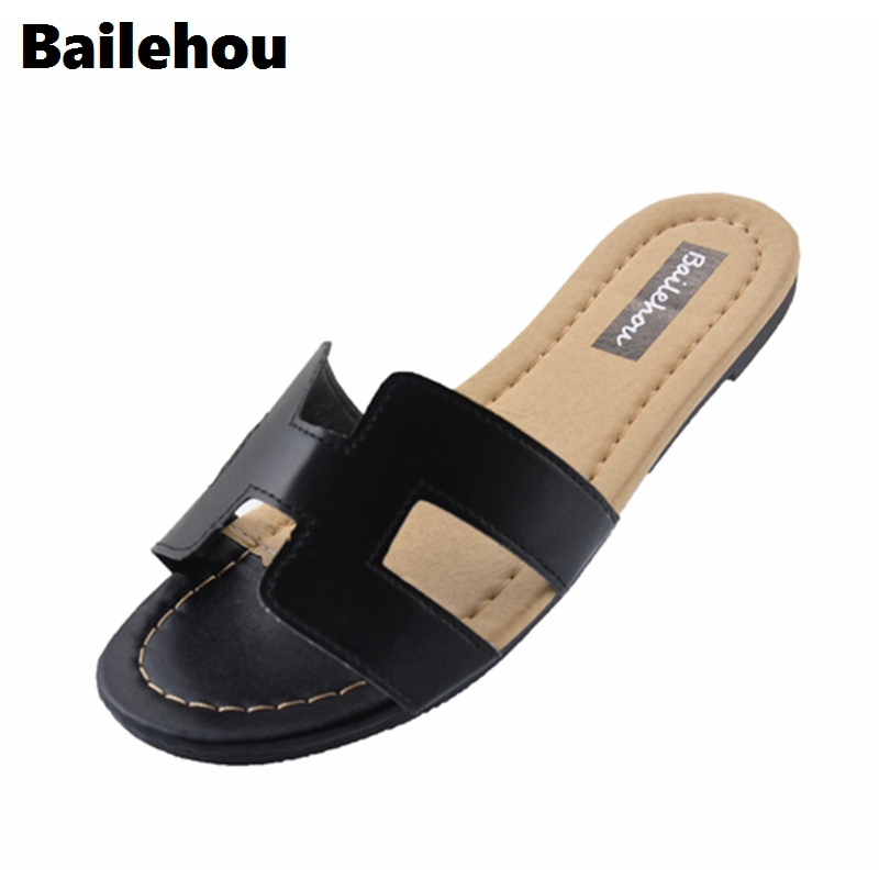 Bailehou Women Slippers Slip On Slides Flat Shoes Brand Slippers Beach Flip Flops Sandal Zapatos Mujer Sexy Classic Mature Flat women slippers ladies shoes slip on slider fluffy faux fur flat fashion female leopard slipper flip flop sandal zapatos mujer