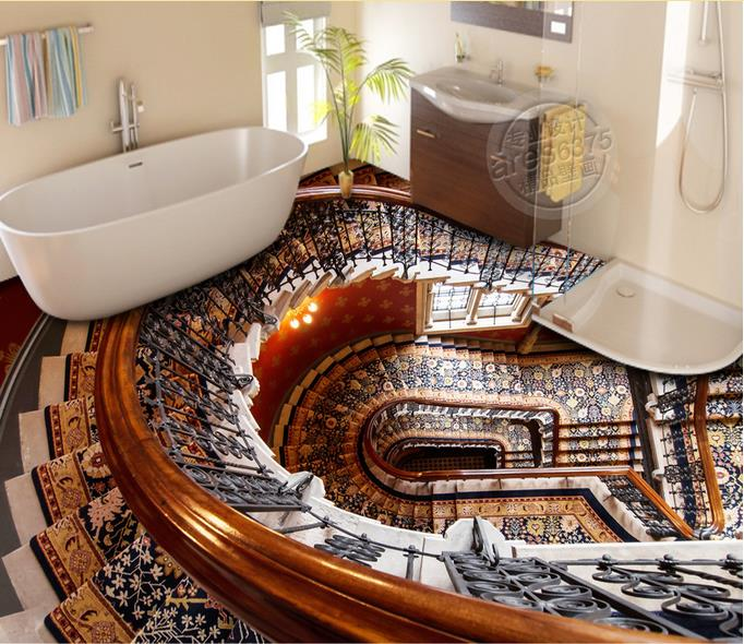 Custom 3d stereoscopic vinyl flooring adhesives stairs 3d for Bathroom floor mural